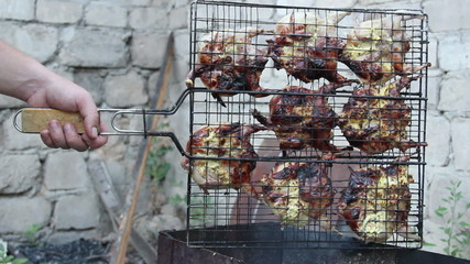 roasted quails on grill