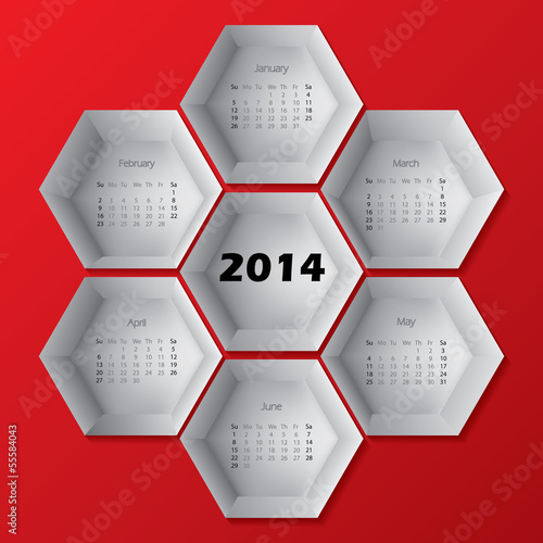 2014 red hexagon calendar design