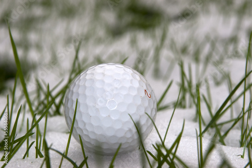 Staande foto Golf a lone single golf ball in the snow