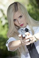 aiming with gun