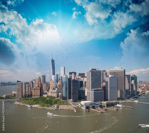Stunning aerial view of Manhattan from Helicopter