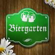 Schild Biergarten - Emaille Holz