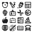 School flat icons. Black