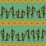 Seamless pattern of African girls