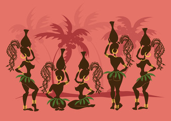 Isolated icons of African tribal girls