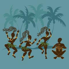 Dancing African aborigine girls and drummer