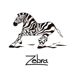 Isolated icon of running zebra
