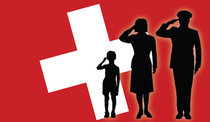Switzerland soldier family salut