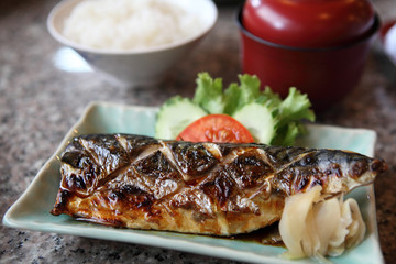 Grill Mackarel fish japanese food