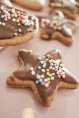Christmas cookies in different shapes with icing
