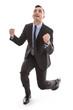 Erfolgreicher Manager im Anzug isoliert - Jubel und Freude