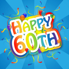 """HAPPY 60TH"" Card (birthday sixty party celebration sixtieth)"