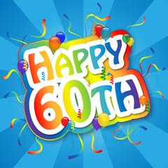 """HAPPY 60TH"" Card (birthday sixty party celebration sixtieth)"