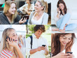 Collage of people using their mobile phone
