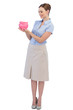 Happy businesswoman with piggy bank