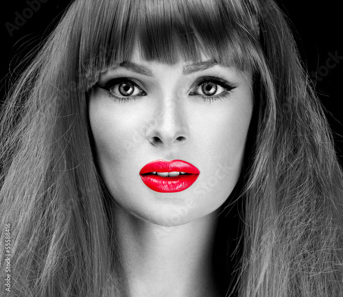 Fashion Girl Portrait. long  Hair and red lipstick. - 55588416