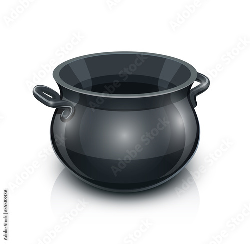 cast iron pot. vector illustration isolated on white