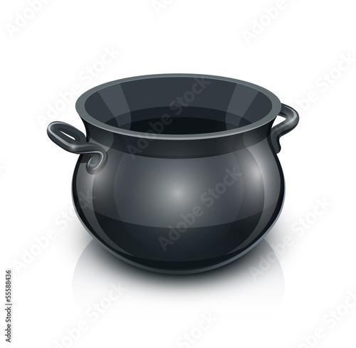 cast iron pot. vector illustration isolated on white