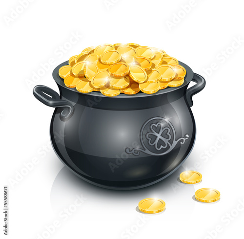pot with gold coin for Patrick's day. vector illustration - 55588671
