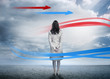 Businesswoman looking at red and blue arrows