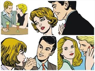 Ilustraciones de una pareja de enmarados