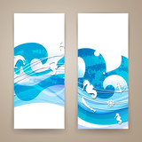 Vector Illustration of Abstract Banners with Nautical Elements