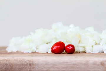 Diced White Onion with red Chillis