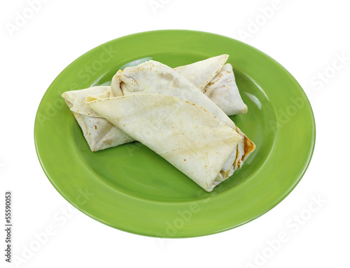 Burritos Two Cooked Green Plate