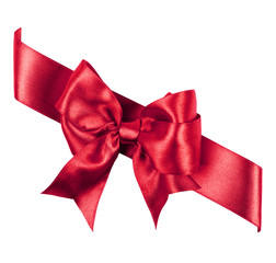 red bow made from silk ribbon