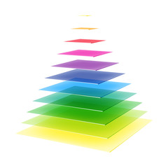 Layered rainbow colored pyramid