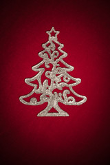 christmas silver tree on red
