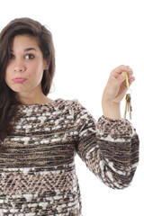 Sad Young Woman Holding House Keys