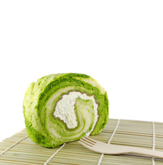 Green tea Cake Roll with fresh cream