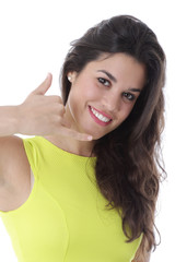 Young Woman Gesturing Using Mobile Telephone