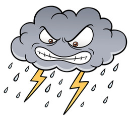 Vector illustration of Cartoon Clouds with Thunder