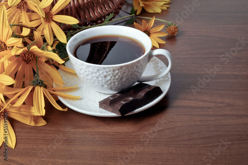 Coffee, chocolate and flowers