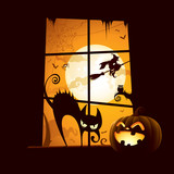 Halloween scene - View from window