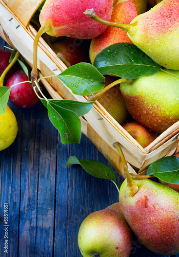 Art abstract  fruits on a wooden background