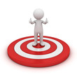 3d man showing thumb up and standing on red target isolated