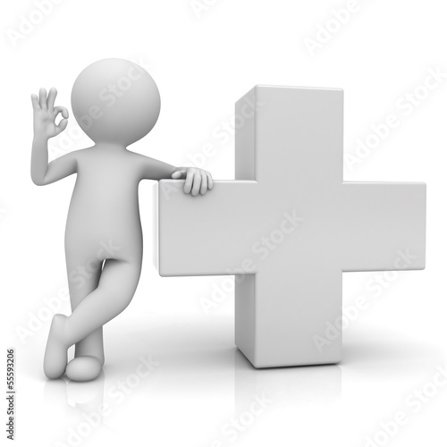 3d man showing okay gesture with white plus sign isolated