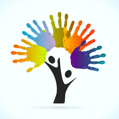 Hands tree vector concept illustration