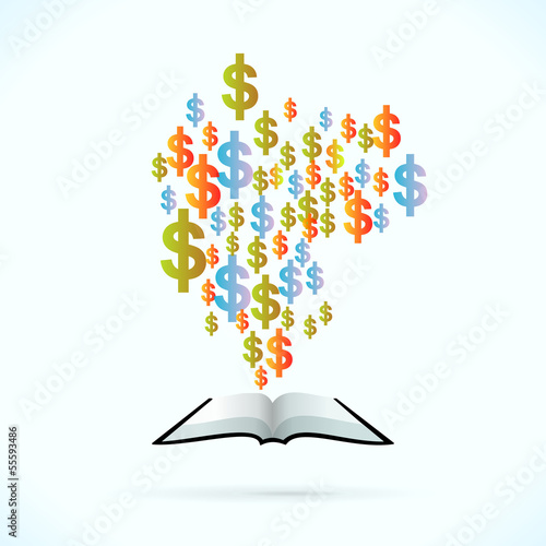 Money book vector concept illustration