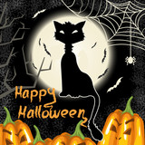 Halloween background with pumpkins, moon and cat
