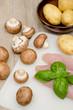Putenfilet und Kartoffeln roh