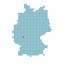 Markierung von Frankfurt auf vereinfachter Deutschlandkarte