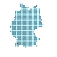 Markierung von Freiburg auf vereinfachter Deutschlandkarte