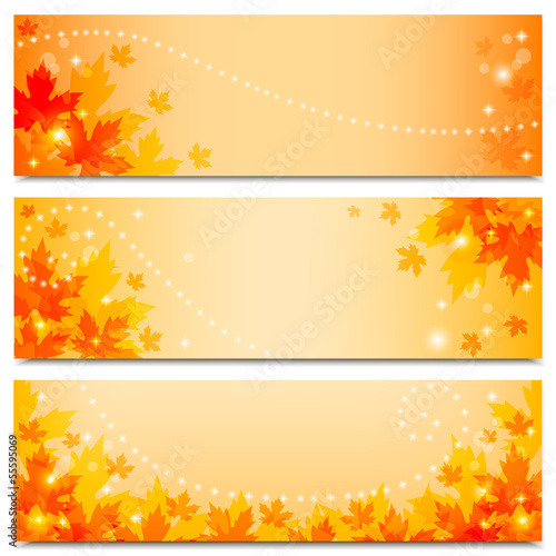 Autumn banners with maple leaves.Vector illustration.
