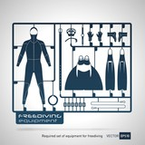 plastic model kits required set of freediving equipment vector