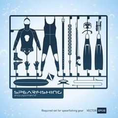 plastic model kits required set of spearfishing equipment vector