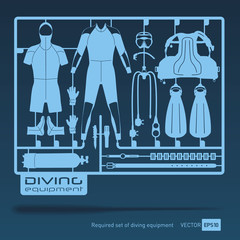 plastic model kits required set of diving equipment vector